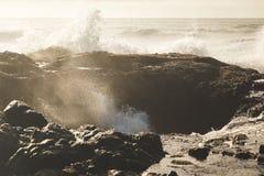 Waves splashing at Thor`s Well Stock Photos