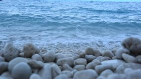 Waves. In the stone of Lefkada stock video