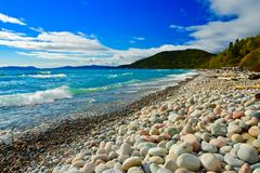 Waves & Stones, Marathon, Lake Superior, Ontario stock image