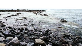 Waves on stones on shore or coast of ocean or sea stock footage