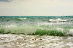 Waves before storm on the sea. Waves before storm on the Mediterranean sea Royalty Free Stock Photos