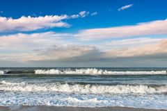Waves on storming sea royalty free stock photos