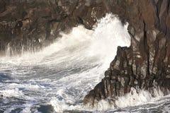 Waves at the stormy coast Stock Photos