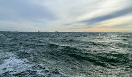 Waves in the Strait of Oresund. Royalty Free Stock Images