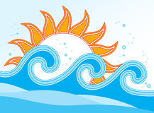 Waves and sun Stock Images