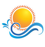 Waves and sun. Sunset beach water splash vector Royalty Free Stock Images