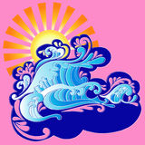 Waves and Sun Vector Illustration. Waves and Sun Psychedelic Vector Illustration eps Stock Images