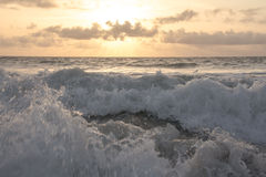 Peaceful ocean scene at sunrise. Waves from the beach at Wabaso, FL Stock Photography