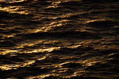 Waves at sunrise. Waves in warm sunrise on sea royalty free stock photography