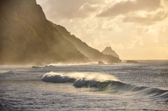 Waves at sunset, Fernando de Noronha, Pernambuco (Brazil) Stock Photos
