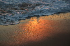 Waves During Sunset in Hermosa Beach Royalty Free Stock Images