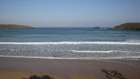 Waves and surf Crantock bay and beach North Cornwall England UK near Newquay stock video