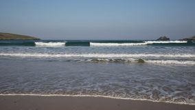 Waves and surf Crantock beach North Cornwall England UK near Newquay stock footage