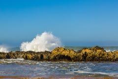 Waves of surf stormy Atlantic near Safi stock photo