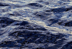 Waves on the surface of a lake. With a texture cast by the surrounding trees, illuminated with the afternoon Sun Royalty Free Stock Images