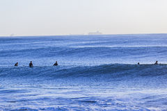 Waves Surfers Waiting Royalty Free Stock Photography