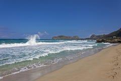 Waves to Falasarna beach Stock Photos