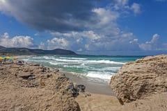 Waves to Falasarna beach royalty free stock images