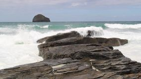 Waves at Trebarwith stock video footage