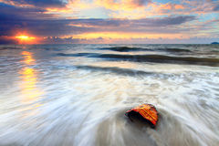 The waves and twilight Stock Images