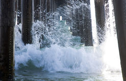 Waves Under A Pier stock photo
