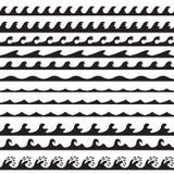 Waves vector set. Vector illustration. Background or pattern set. Black.  Stock Images