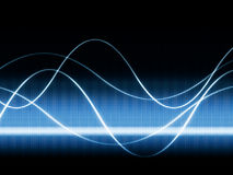Waves on video. Close up of blue monitor displaying sines curves Stock Images