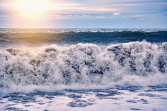 Waves view at stormy time. Waves view at the stormy sunset time stock image