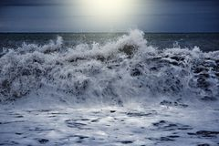 Waves view at stormy time. Waves view at the stormy sunset time stock photos