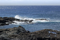 Waves on the volcanic coast of La Palma Stock Photography