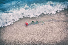 Waves washing away a red rose from the beach. Vintage. Love Stock Image