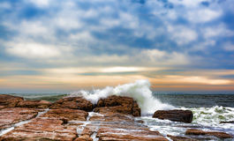 Waves washing over rocks at Southwest Harbor, Maine Royalty Free Stock Photo