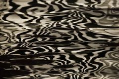 Waves on water create freakish diffractional structures similar. To velvet on its surface, yellow gold reflections on water organized into strict and chaotic stock photo