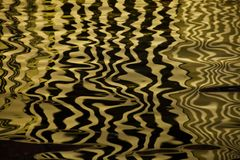Waves on the water forming stripes similar to the texture of velvet, the alternation of gold and black stripes and waves. Golden water Waves on the water forming stock images
