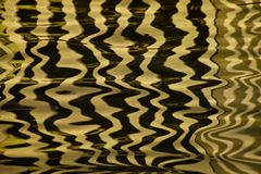 Waves on the water forming stripes similar to the texture of velvet, the alternation of gold and black stripes and waves. Golden water Waves on the water forming royalty free stock image
