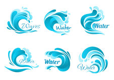 Waves and water splashes vector icons Royalty Free Stock Photography