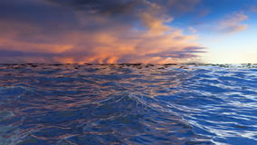Waves on the water by sunset. stock video footage