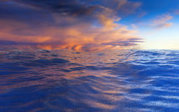 Waves on the water by sunset. Ocean under the blue and orange cloudy sky. 3D render illustration Royalty Free Stock Images