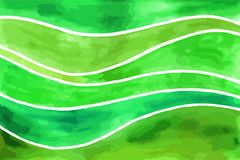 Waves watercolor backgrounds. Abstract green waves vector watercolor painting. Art texture horizontal background Stock Photography