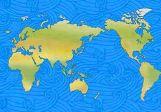 Waves and world. Illustration of world map with ocean waves stock illustration