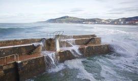 Waves at Zarautz beach Royalty Free Stock Photography