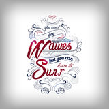 Wavew and surf typography design Royalty Free Stock Image