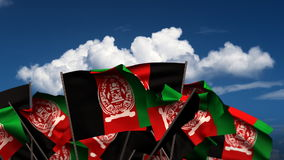 Waving Afghan Flags stock footage