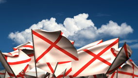 Waving Alabama State Flags stock footage
