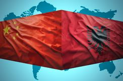 Waving Albanian and Chinese flags Royalty Free Stock Photography