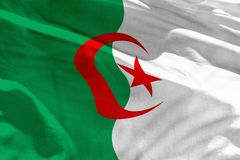 Waving Algeria flag for using as texture or background, the flag is fluttering on the wind. Fluttering Algeria flag for using as texture or background, the flag royalty free stock photos