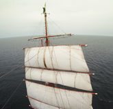Waving from aloft on a tallship or sailboat Royalty Free Stock Image
