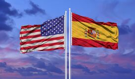 Free Waving American Flag And Flag Of Spain. Closeup View Royalty Free Stock Image - 214210116