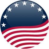 Waving American Flag on Blue with Stars. Election themed round button with 3d effect, waving American flag - clipping path included Royalty Free Stock Photo