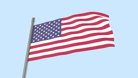 Waving American flag isolated on white background. Seamless video. 3D-rendering. Looping video. Loop. Repeating video USA flag.